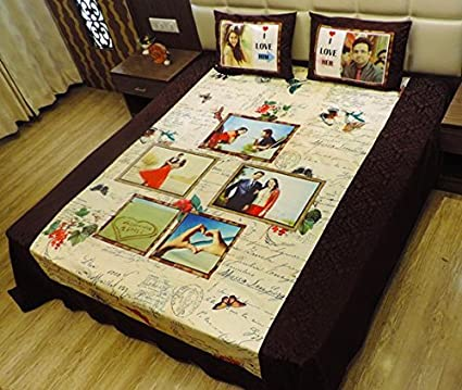 FrozenLily Customized Personalized Bedsheet Double With Pillow Covers Personalize Gift Anniversary For Husband Wife