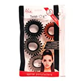 """Mia Twist O's-Spiral Hair Elastics In A Convenient Zippered Storage Pouch-GENTLE On The Hair! Black, Charcoal Gray, Clear Gray, Brown, And Cream Colors-Measures 1.5"""" Diameter (5 pieces)"""