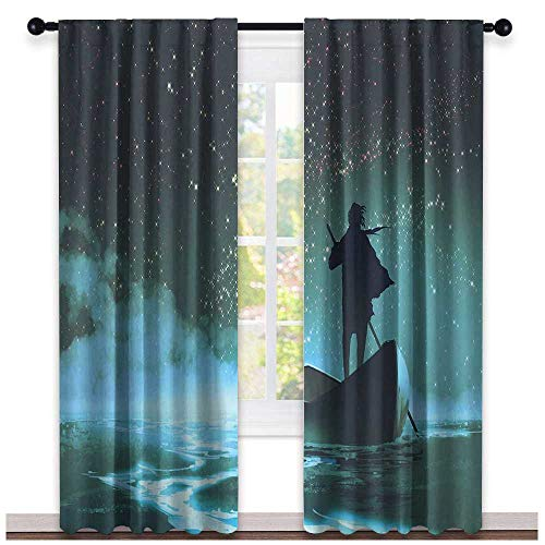 hengshu Ocean, Curtains Elegant, Man Rowing Boat in Sea Under Majestic Foggy Sky with Milky Way Magical View, Curtains Kids, W108 x L96 Inch Dark Blue Aqua White ()