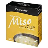 Clearspring Organic White Miso Instant Soup with Tofu (4 per pack - 40g) - Pack of 6