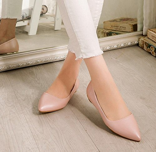 Carolbar Mujer's Pointed Toe Cuff Date Party Elegance Charm Moda Low Heel Dress Zapatos Pink