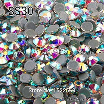Image Unavailable. Image not available for. Colour  Wowobjects 1Pc Ab Ss30  288Pcs 2058Hf Ss30 Clear Ab Rhinestone Hot Fix Strass Hotfix Stones and 36cc82b92029
