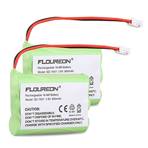 FLOUREON 2-Pack 3.6V 900mAh Ni-MH Cordless Phone Batteries for Motorola SD-7501 MD7161 MD7161-3 525735-001AT-T/Lucent 89-1323-00-0 27910 - 7501 Replacement