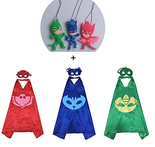 [3 packs Kids' Costume Cape & Mask + 3 Figures Necklaces Cosplay] (Pj Mask Costume)