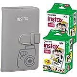 Fujifilm instax Wallet Album (Smokey White) + Fujifilm Instax Mini Twin Pack Instant Film (40 Exposures) – Accessories for Fujifilm Mini 9