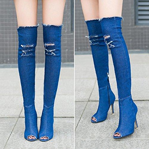 rodilla Estiramiento Mujer oras Muslo furtivamente Sobre pie del Vovotrade Vaquero dedo Botas tal Mezclilla la mirar Se del qZ6ddcIw7