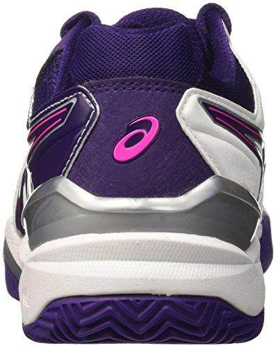 Asics Damen Gel-Resolution 6 Clay Tennisschuhe Mehrfarbig (White/Parachute Purple/Hot Pink)