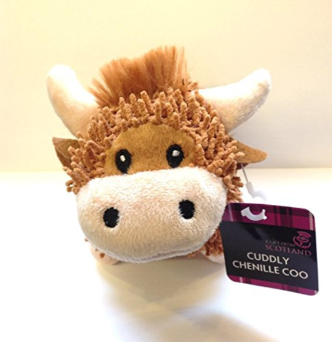 FANCYTHAT & SCIFI PLANET Scottish Gift - Highland Cow Cuddly Chenille Soft Toy - UK -