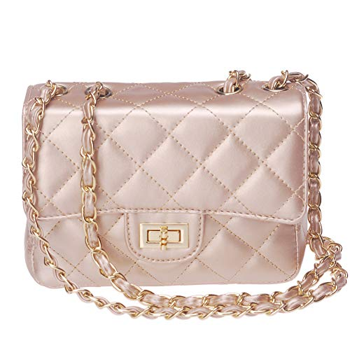 ToToDog Classic Metal Chain Quilted Purse for Women Crossbody Shoulder Bag PU Leather Handbag (Glod)
