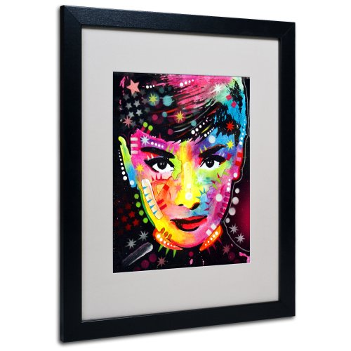 Audrey Matted Artwork by Dean Russo with Black Frame, 16 by