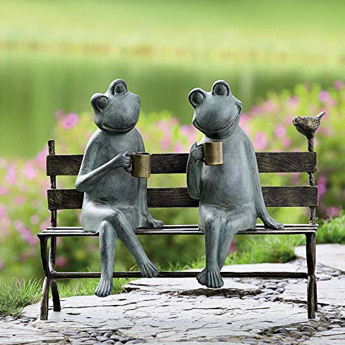Frogs on a Bench Drinking with a Bird Outdoor Decor – Extra Large 22″ Long x 18.9″ Tall