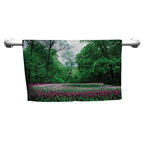flybeek Premium Woodland,Ornate Garden of Tulips,freestanding Towel Racks for Bathroom