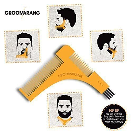 GROOMARANG Bartkamm & Bart Schablone für die perfekt Bartfom, Bart Styling, Rasur der Bartlinie, Symetrischer Bart by BLISSANY