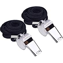 Mudder Metal Referee Whistles Coach Whistles with Lanyard for Football Coaches and Officials, 2 Pieces