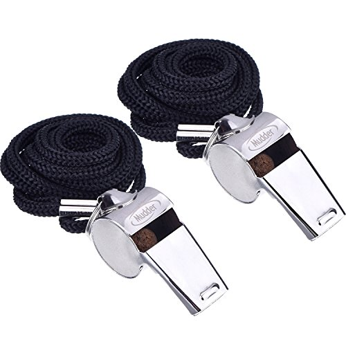 Coach Whistle (Mudder Metal Referee Whistles Coach Whistles with Lanyard for Football Coaches and Officials, 2 Pieces)