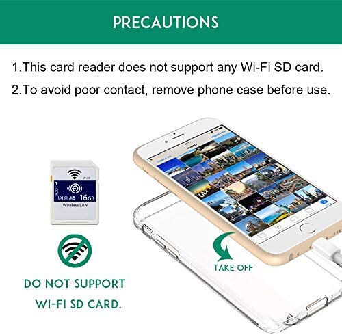 DenicMic SD CF Card Reader for iPhone iPad SD CF TF Memory Card Reader Adapter Digital Camera Reader Trail Game Camera Viewer for iPhone 11/X/8 Plus/8/7 Plus/7/6s, iPad Mini/Air, No App Required