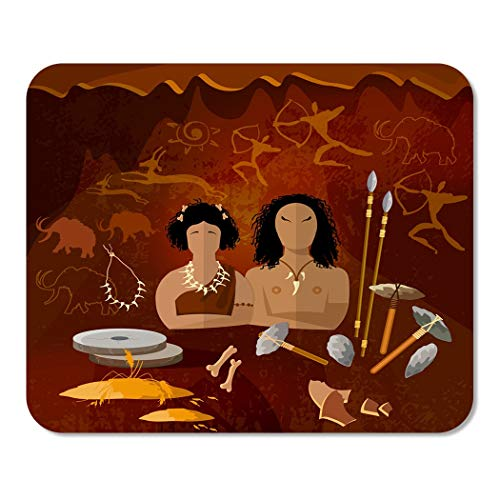 Suike Mousepad Computer Notepad Office Stone Age Cave Man and Woman Neanderthal Family Home School Game Player Computer Worker 9.5x7.9 Inch]()