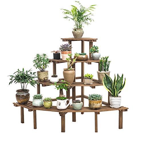 4-tier Free standing Macetas de plantas, Madera natural Estanteria para macetas Multifuncional Sostenedor de pote de flor de...