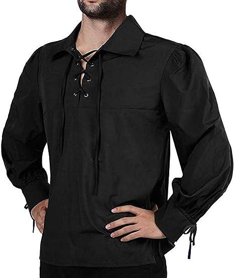Camisa de hombre medieval pirata, manga larga suelta casual ...