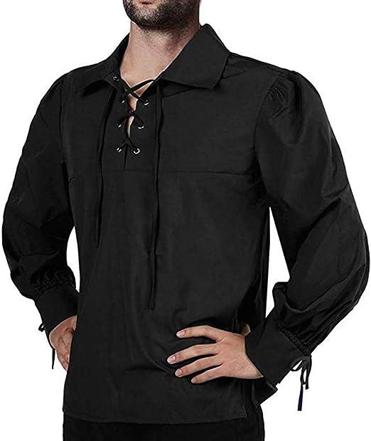 Camisa de hombre medieval pirata, manga larga suelta casual top retro solapa corbata diseño cordones blusa negra de Halloween: Amazon.es: Amazon.es
