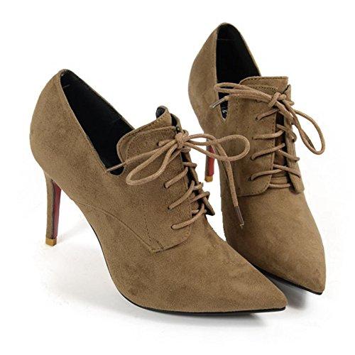 KHSKX-Nueva Moda De Encaje Zapatos De Tacon Afilados Ups Profundo Zapatos Zapatos De Invierno Botas De TobilloTreinta Y TresCamel