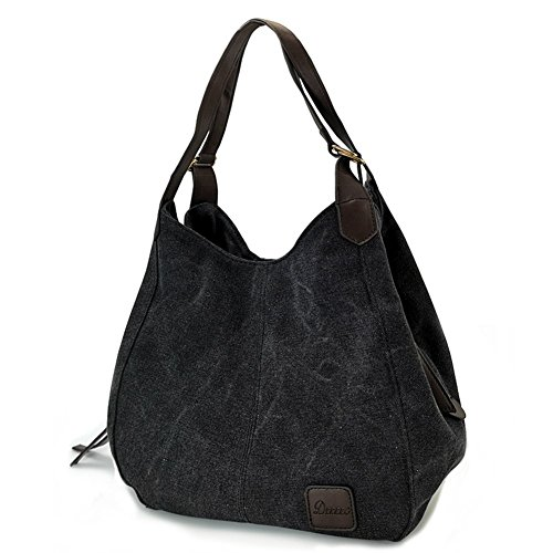 Women's Everyday Casual Shoulder Bags - Canvas Hobo Handbag Cotton Totes Purses Black Casual Purse