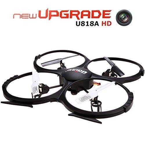 UDI U818A HD 2.4GHz 4CH 6 Axis Gyro Headless Mode RC Quadcopter Drone w/ HD 2MP Camera, Extra Battery and Return Home Function Black by UDI RC