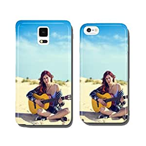 Woman playing guitar on the beach cell phone cover case iPhone6 Plus