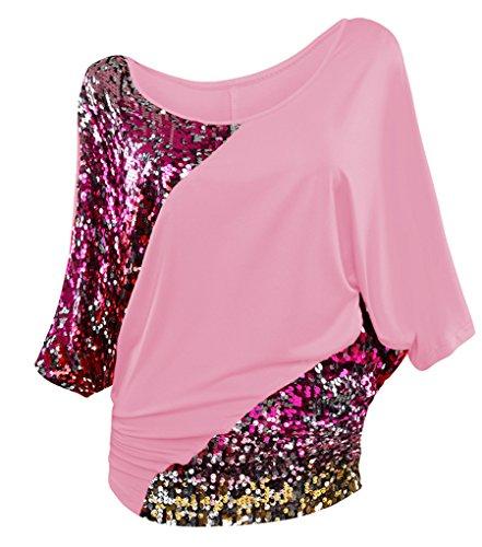 NiSeng Mujeres Camiseta Irregular Lentejuelas De manga Corta Cuello Redondo T-shirt Cuello De Barco Suelta Camisa Casual Tops Rosa