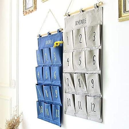 Demarkt 1pcs Sac de Rangement Mural Suspendu Sac de Rangement Multicouche de Stockage de Cuisine Bureau Chambre 12 Poches(Blanc 72 32cm
