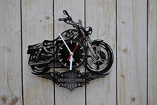Motorbike Design Vinyl Record Wall Clock - Gift Idea for Boyfriend, Men and Boys - Motorcycle Bedroom or Kitchen Wall Art Decoration -