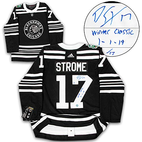 Dylan Strome Blackhawks Signed & Dated 2019 Winter Classic Hockey Jersey #/17