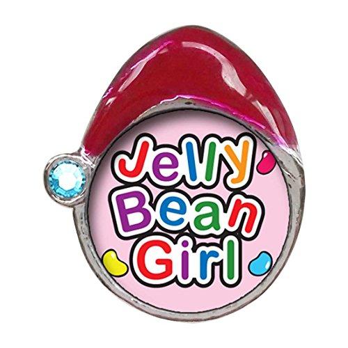 (GiftJewelryShop Cartoon Theme Blue Aquamarine Crystal March Birthstone Santa Hat Charms, Jelly Bean Girl Easter)