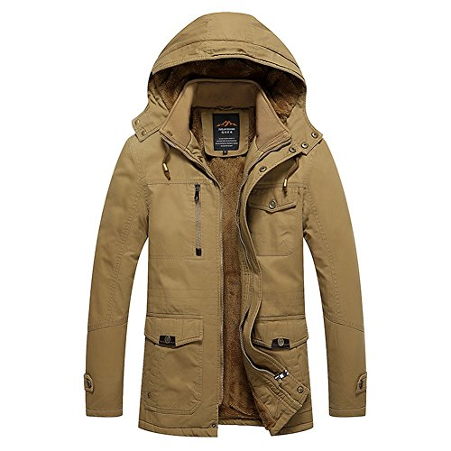 H.T.Niao Jacket8935C3 Men 's Korean Version of Leisure Plus Cotton(Khaki,Size L)