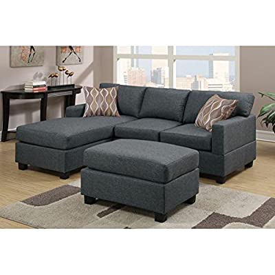 Modern 3 Pieces Blended Linen Reversible Sectional Sofa in Grey by Poundex
