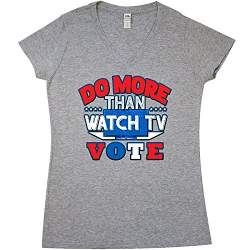 inktastic TV Vote Junior V-Neck T-Shirt Large Athletic Heather Grey 2fcdb