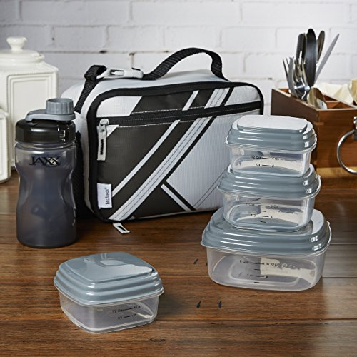 ' Insulated Lunch Bag with Reusable Container Set, Shaker Bottle and Ice Pack, Complete Lunch Box Set for Boys and Girls, Dark Gray ()