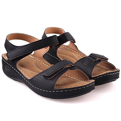 Unze Sandalias cómodos para caminar Mujeres nuty ' Negro