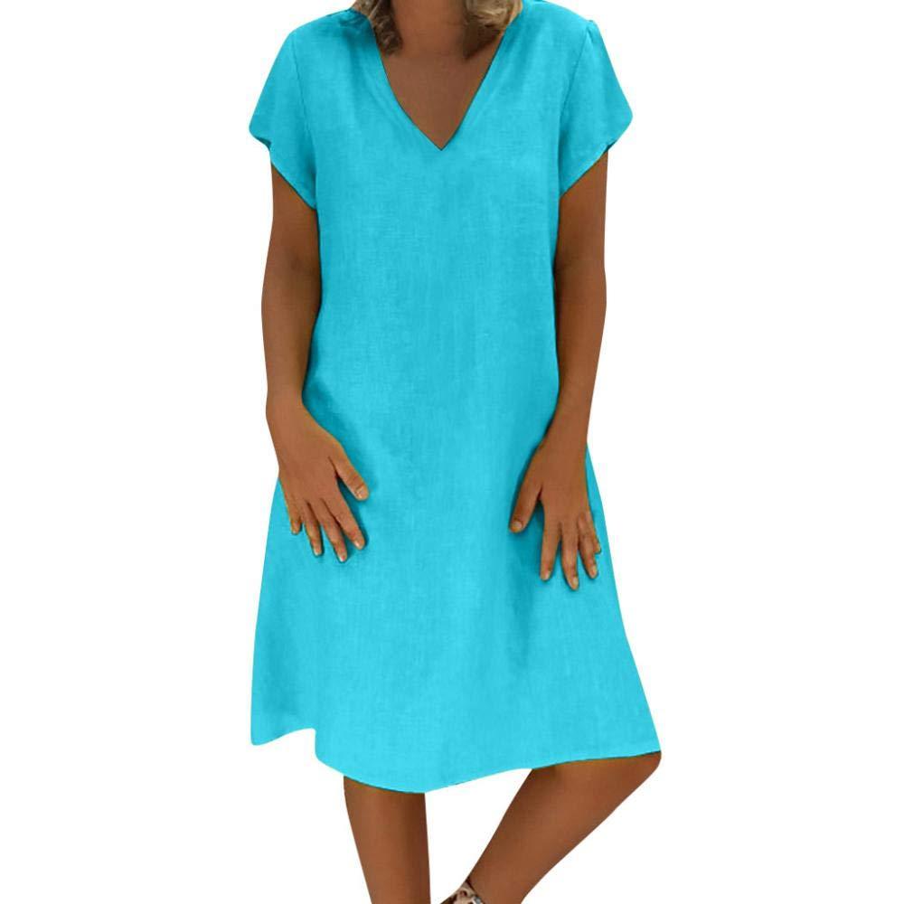 YEBIRAL Große Größe Damen Leinen Kleider Sommerkleid Lose Tunika T-Shirtkleid V-Ausschnitt Kurzarm Einfach Bequem Freizeit Knielang Kleid