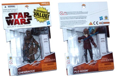 Star Wars 2009 Legacy Collection Saga Legends Blockbuster Value 2 Pack 4 Inch Tall Action Figures - CHEWBACCA SL15 with Blaster Rifle, Breath Mask and Battle Gear Box (4 Blaster (Plo Koon Mask)