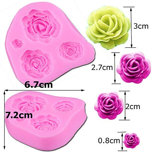 Amazon.com: 3D Mold Silicon - M025 3D Rose Flower Silicone Mold Fondant Cake Decorating Chocolate Cookie Soap Polymer Clay Resin Baking Molds