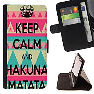 - Keep Calm and Hakuna Matata - - Premium PU Leather Wallet Case with Card Slots, Cash Compartment and Detachable Wrist Strap FOR Samsung Galaxy S3 MINI I8190 King case