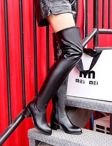 XZZ/ Damen-Stiefel-Outddor / Lässig / Party & Festivität-Kunstleder-Blockabsatz-Modische Stiefel-Schwarz / Braun / Weiß brown-us10.5 / eu42 / uk8.5 / cn43