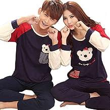 Dremart Long Sleeve Sleepwear Couples Matching Pajamas