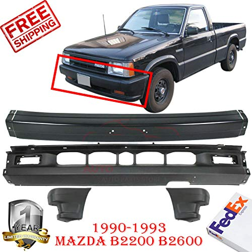 New Front Bumper Black For 1990-1993 Mazda B2200 B2600 2wd Pickup LOWER VALANCE BUMPER END Left Hand Side & Right Hand Side Direct Replacement Set of 4 MA1002113 MA1005112 MA1004104 MA1095108