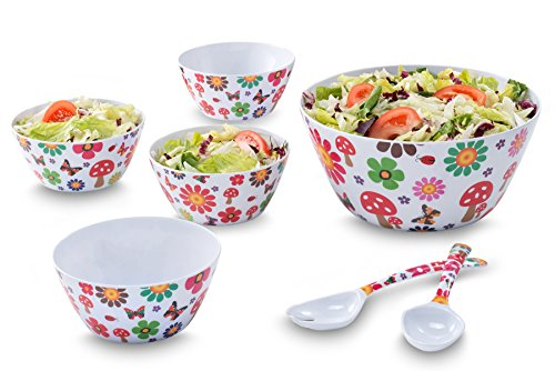 Francois et Mimi 7 Piece Melamine Salad Bowl - Walnut Salad Bowl Set