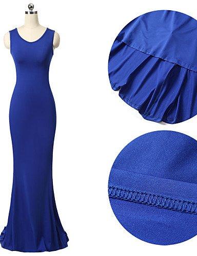 PU&PU Robe Aux femmes Moulante / Swing Sexy / Soirée / Travail / Décontracté / Plage , Couleur Pleine A Bretelles MaxiAcrylique / Polyester / , blue-m , blue-m