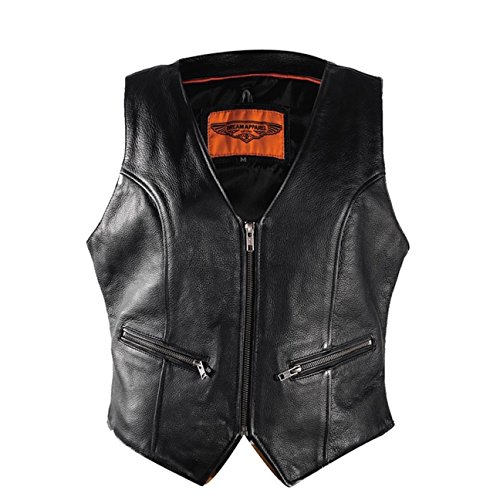 Leather Biker Apparel (Ultimate Leather Apparel Womens Biker Leather Vest With Gun Pockets (5XL, Black))