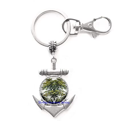 Amazon.com: Llavero con anclaje de árbol mundial, joyería ...