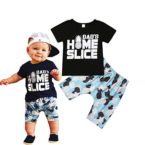 Newborn Baby Boys Summer Clothes Set Letter Tops T-Shirt Pineapple Printed Shorts Sets (12-18 Months, Black Tops+Pinapple Short Sets)